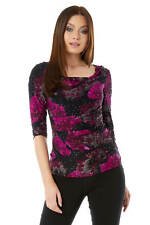 Roman Originals Womens Sequin Cowl Neck 3/4 Length Sleeves Floral Top
