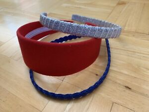 Girl's Hairband Lot, Red, Silver, Blue Headbands