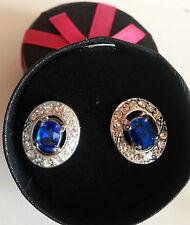 Birthstone Earrings September  Silver & Sapphire Stud / Post NIB FREE SHIP