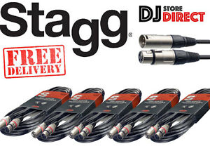 5 X STAGG SMC10 - 10M BALANCED MICROPHONE XLR CABLE - Male To Female FREE P&P