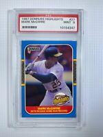 1987 Donruss Highlights Rookie Home Run Record MARK MCGWIRE #27 A's  PSA 9