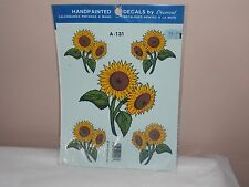 Vtg 1993 Decoral Handpainted Waterslide Decals Sun Flowers  A-131 New Old Stock