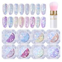 9Pcs/Set Light Color Changing 3D Nail Glitter Sequins Nail Art Powder Brush Lot