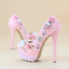 Wedding Pink Women Rhinestone Beads High Stiletto Heel Shoes Sweet Pump Pearl