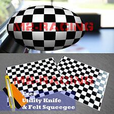 *Black/White Checkered Pattern Vinyl Stickers For Mini Cooper Side Mirrors Film