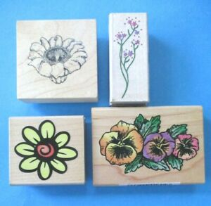 4 FLOWERS Rubber Stamps PANSIES Floral Filler DAISY Blossoms