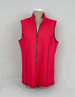 QUACKER FACTORY Women's French Terry Zip Frontling Vest Red-Blue Sz. Large-A++