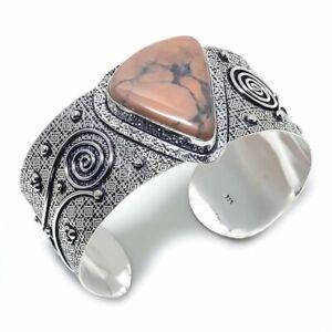 Howlite Jasper Ethnic Handmade 925 Sterling Silver Cuff Bracelet Adjustable