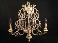 VTG Chandelier HOLLYWOOD REGENCY Candelabra Ceiling Light Fixture Crystal LOVELY