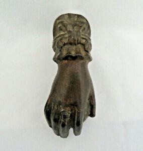 Antique Victorian Bronze Door Knocker ~ Ladies Hand w/ Ring & Holding an Apple