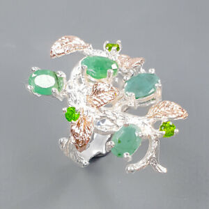 Handmade jewelry Set Emerald Ring Silver 925 Sterling  Size 5.5 /R173223