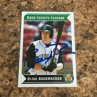 Bijan Rademacher Signed 2013 Kane County Cougars Team Set Rc Auto Chicago Cubs