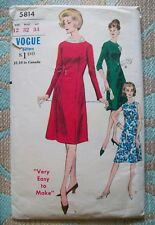 VOGUE Vintage 60s Pattern 5814 Easy Dress Sleeveless or Long Sleeves 12 Cut