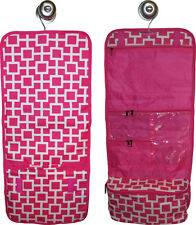 Hanging Travel Cosmetic Bag (pink geometric) great for travel or home!