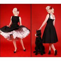BETTIE PAGE TATYANA JAZMIN 50'S STYLE BLACK WHITE CIRCLE PIN UP DRESS S