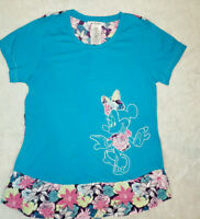 Disney Parks Minnie Mouse Graphic Embroidered T-Shirt Teal Blue Floral Medium