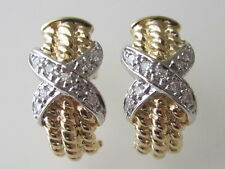 Stylish 14k. Solid Gold Two Tone Diamond X Earrings, New