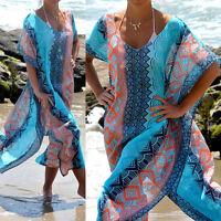 Frauen Sommer Boho Lang Kaftan Maxi Kleid Evening Cocktail Party Beach Kleid s