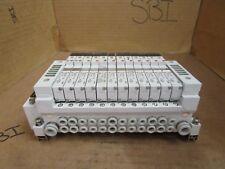 SMC 12-Slot Solenoid Valve Bank w. (9) VQ1101-5 & (2) VQ1201-5 & VQ1101-5B Used