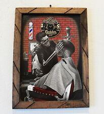 Baerbshop Skeleton cutting Hair 11 x 16 Print with Wood Frame