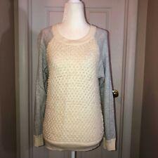 TOWNSEN Womens Ivory Wool Alpaca Blend Crew Neck Sweater Sz S
