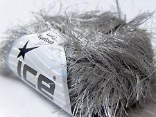 38Yd Silver Grey Extra Long Eyelash Yarn #13021 Ice Luxurious Fun Fur 50 gram