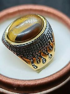 Millionaire chunky tigers eye with gold fire gold a silver Gf mens RING SIZE 10