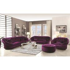 Velvet Fabric Modern 4Pc Sofa Set Long Sectional Chair Sofa Ottoman Living Room