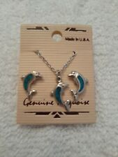Turquoise Dolphin Necklace And Pierced Ear Ring Set, New