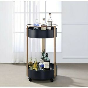 serving cart Niarrel 19'Dia x 31'H Dark gray & copper finish