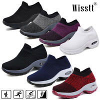 Women's Wedge Sneakers Air Cushion Sport Shoes Slip On Mesh Casual Trainers New