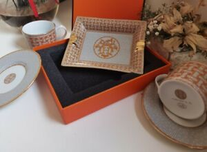 Hermes ashtray Mosaique au 24 gold with 2 Coffee Cup & Plate