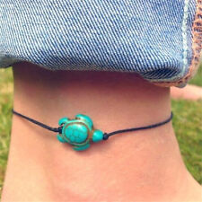 Women Turquoise Turtle Ankle Chain Anklet Bracelet Foot Beach Jewelry♫