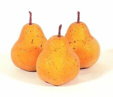 "Lot 3 artificial fruits small yellow pears sugared 3"" home decor accessories"