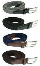 """Elasticated Stretchy Trouser Belt for Men, 1.25"""" Wide, Black, Blue, Grey, Brown"""