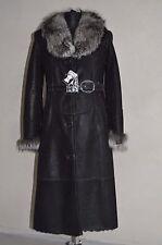 00cdabdf028d WOMEN'S NEW LONG COAT GENUINE SHEEPSKIN LEATHER 100% FOX COLLAR, size L