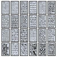 24PCS Alphabet Stencil Letters DIY Symbol Drawing Set Painting Scrapbook Decor
