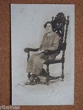 R&L Postcard: 1925 Portrait of Lady Sitting in Antique Chair, Art Deco Clothing
