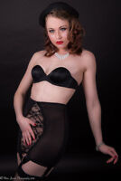 Retro Girdle Power Mesh Lace Front Longline Open Bottom Girdle with 6 Suspenders