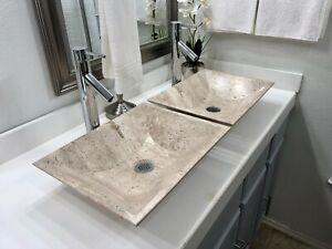 2 Travertine Stone Sinks /Modern Natural Stone Bathroom Rectangular Vessel Sink