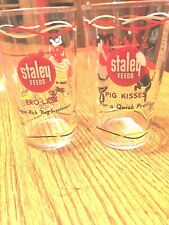 Staley Feeds Pro-Lass & Pig Kisses Vintage Water Tumblers, Pair, 5 inches High