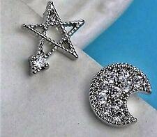 New 9K White Gold Filled AAA CZ Moon & Star Stud Earrings