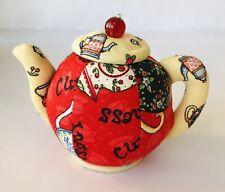 "Teapot Pin Cushion Mary Engelbreit (?) Dritz Lid w/ Bead Knob Opens 4"" Tall"