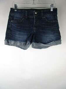 Daisy Fuentes Women Blue Stretch Medium Wash Fringe Denim Jean Shorts Size 4