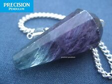 Solid Purple Banded Fluorite 12-Faceted Crystal Gemstone Precision Pendulum