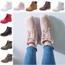 Womens Army Combat Boots Chunky Heel Grip Sole Flat Fur Lined Winter Ankle Shoes
