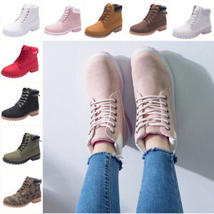 Women's Combat Boots Lace Up Martin Chunky Heel High Top Military Ankle Boots