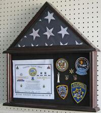 Flag Display Case Military Shadow box for 4'X6' U.S.A Flag, Solid Wood Fc12-Mah