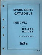 1988 & EARLIER TANAKA ENGINE DRILL  MODEL TED-260 & TED-265 PARTS MANUAL
