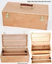 XXL - Utensilienkoffer 40x20x16cm=BxTxH Inhalt 10 l, Holz Buche Malkoffer Malbox